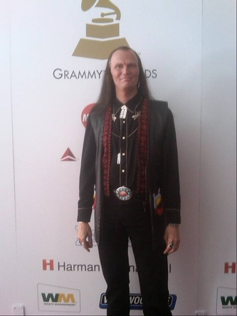 John Two-Hawks on the Red Carpet at The Grammys, nominee for 'Best Native American Music Album'